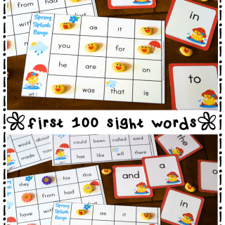 Spring Splash Sight Words Bingo Set 1