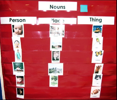 Homemade Pocketchart Noun Sort