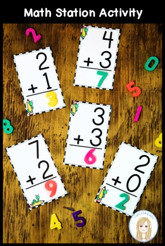Addition Flashcard Math Station Activity