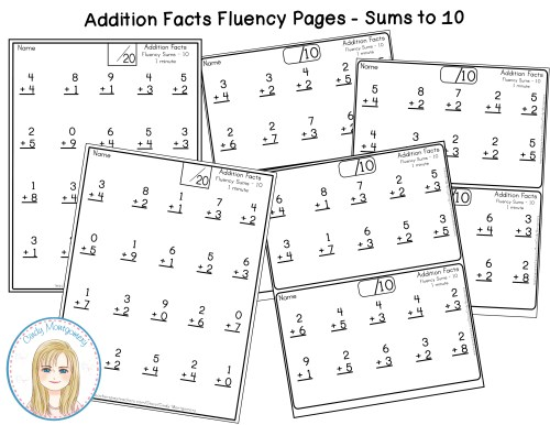 Addition Fact Fluency Pages Sums to 10