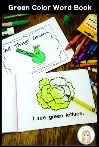 All Things Green color word emergent reader for new and struggling learners