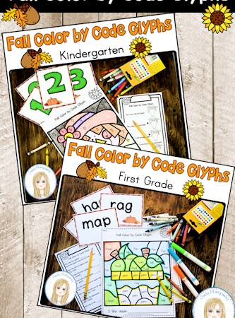 Fall Color by Code Glyphs: Kindergarten and First Grade