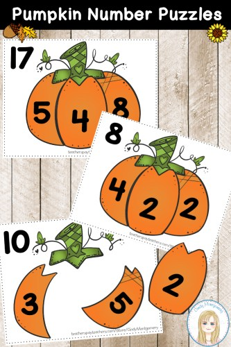Pumpkin Number Puzzles: Decomposing and Composing Numbers to 18