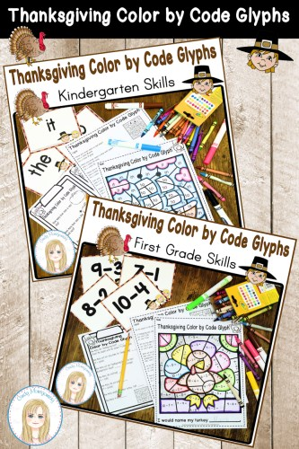 Thanksgiving Color by Code Glyphs