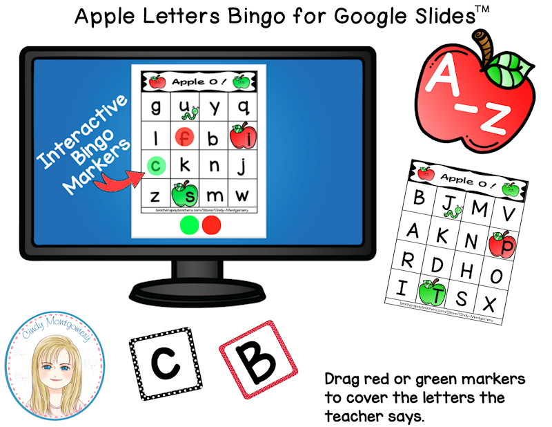 Apple O! Interactive Letter Bingo Game for Google Slides