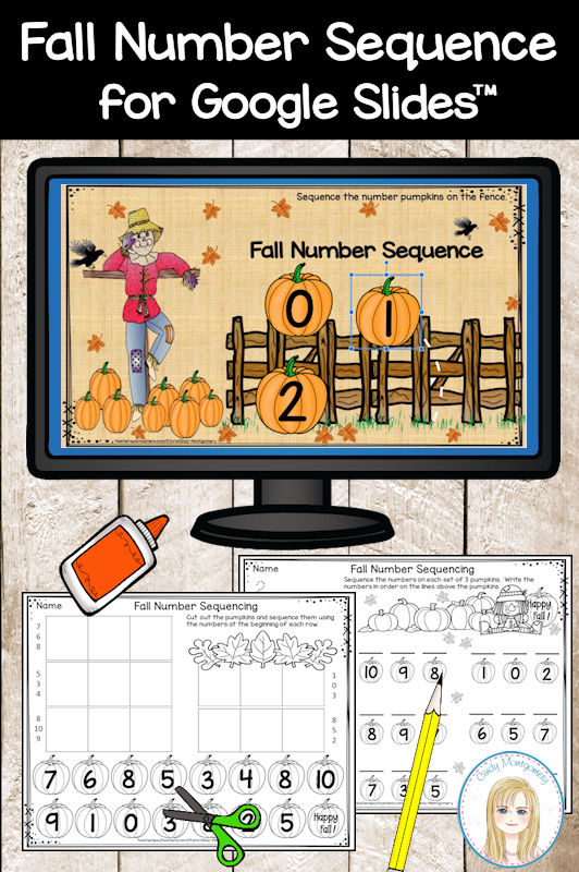 Fall Number Sequencing Digital Activity 0-10 for Google Slides