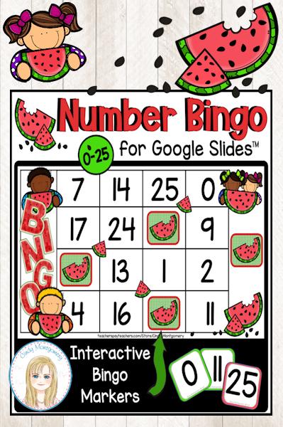 Watermelon Numbers to 25 Digital Bingo