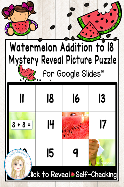 Watermelon Digital Addition to 18 Digital Mystery Picture Reveal Puzzle