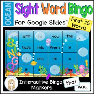 Ocean Sight Words Bingo for Google Slides: resource to teach first 25 sight words