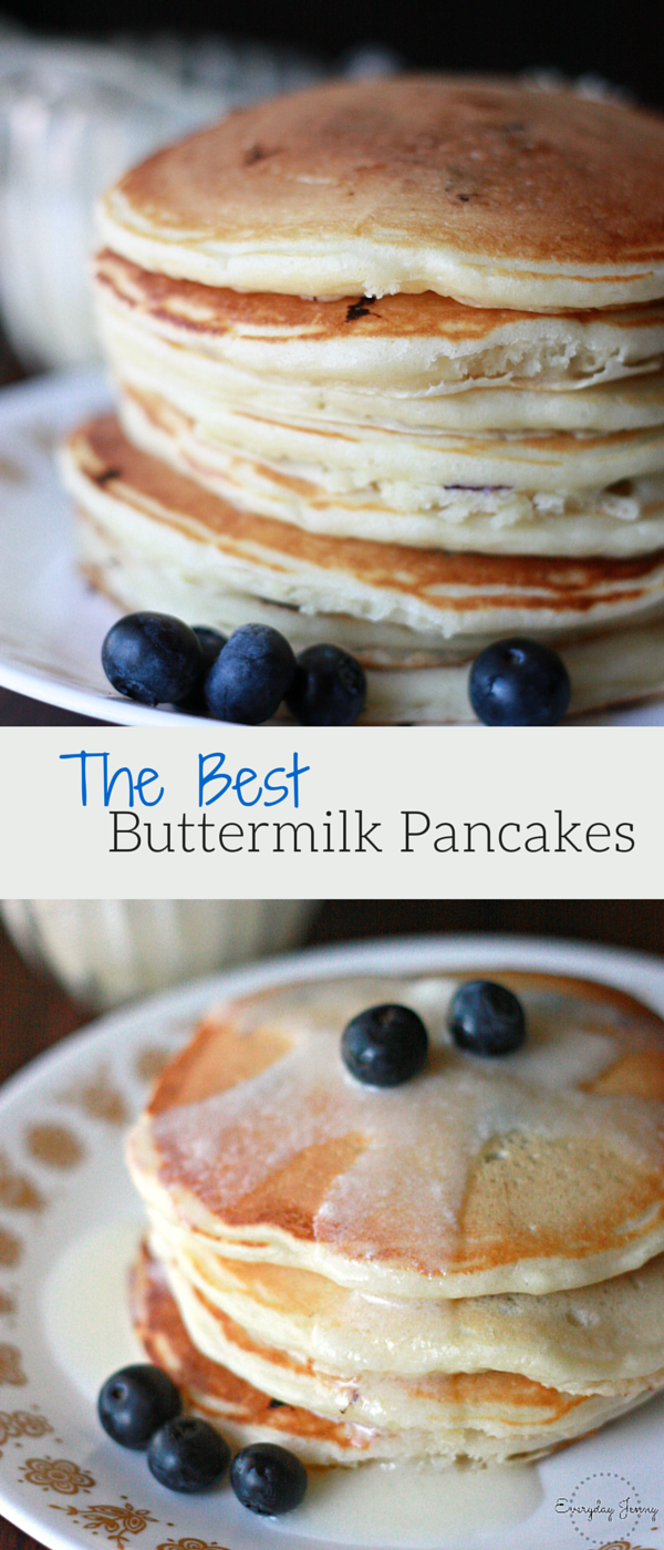 The most delicious buttermilk pancakes recipe found at everydayjenny.com