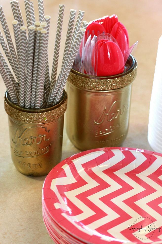 Pink and Gold Party Gold Mason Jars Up Close
