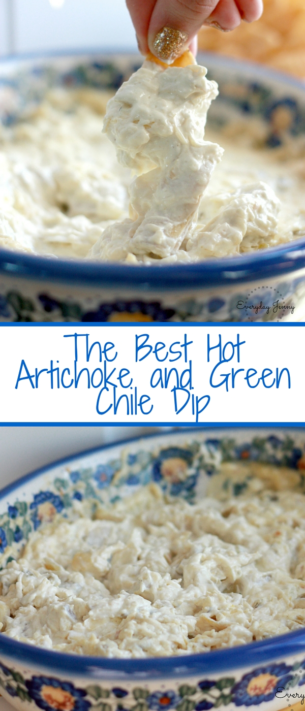 The best hot artichoke and green chile dip. So easy, takes 5 minutes to put together. Great for a party. Recipe at everydayjenny.com