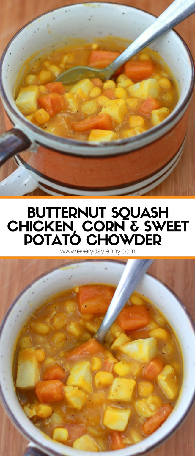 This butternut squash, chicken, corn and sweet potato chowder is an easy recipe that makes one of our favorite chowders (like a soup but thicker). Recipe at everydayjenny.com