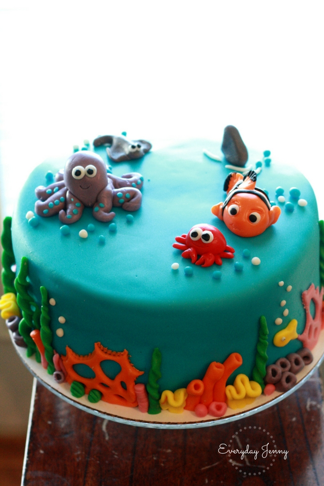 Under the sea fondant cake. Finding Nemo, octopus and crab.