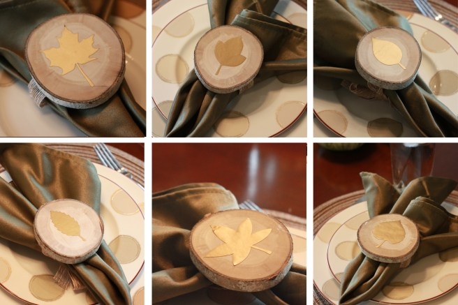Fall dinner party leaf napkin ring holders from wood slices made with the Cricut Explore Air 2.