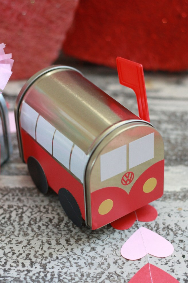 VW bus Valentine's Day Mailbox. From Target Dollar Spot. Personalized with Cricut.