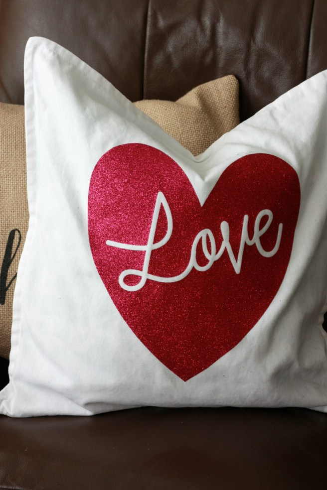Love Pillow With Cricut Glitter Iron-On