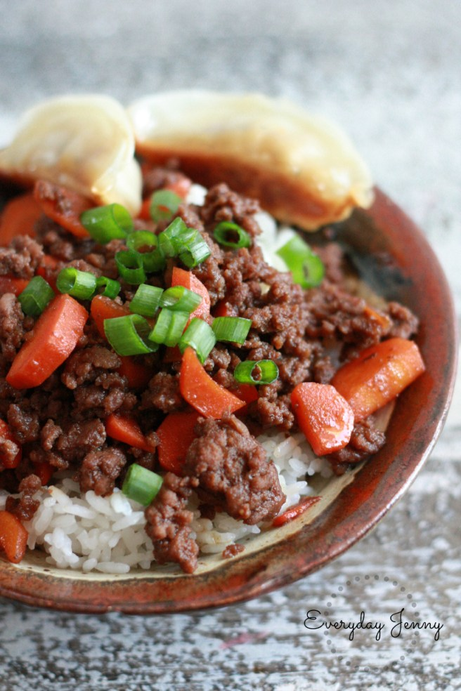 Quick Korean Beef Rice Bowl. This easy meal is made with ground beef, soy sauce, brown sugar and sesame oil. See the full recipe at everydayjenny.com
