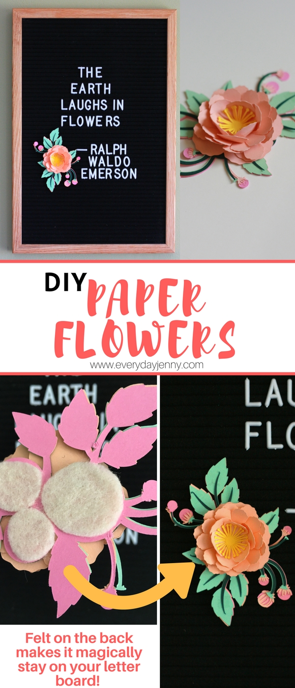 Cricut make it now project felt letterboard 3d flower everyday jenny learn how to make these paper flowers with your cricut and the trick to make them mightylinksfo