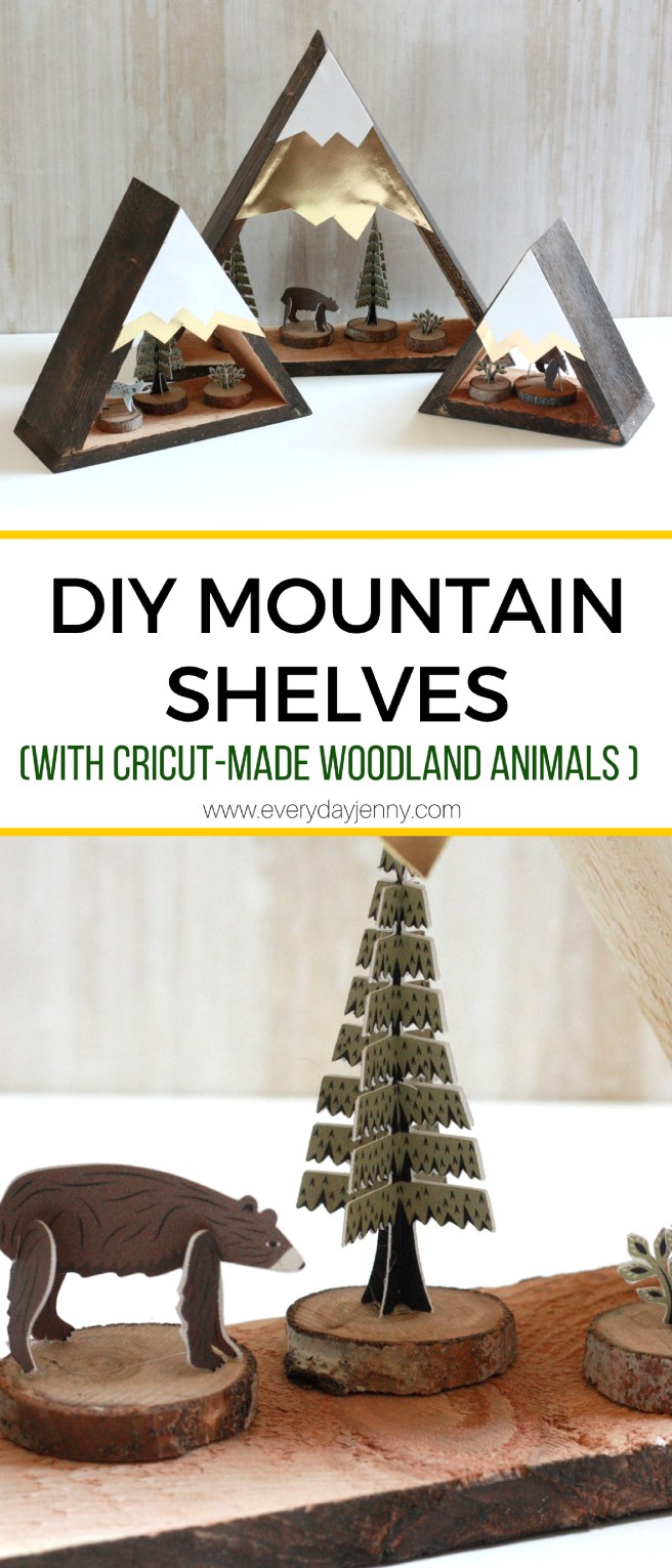 Instructions for building these cute wood mountain shelves. Also how to make the inside woodland animals with your Cricut Explore Air 2 and how to use print and cut!