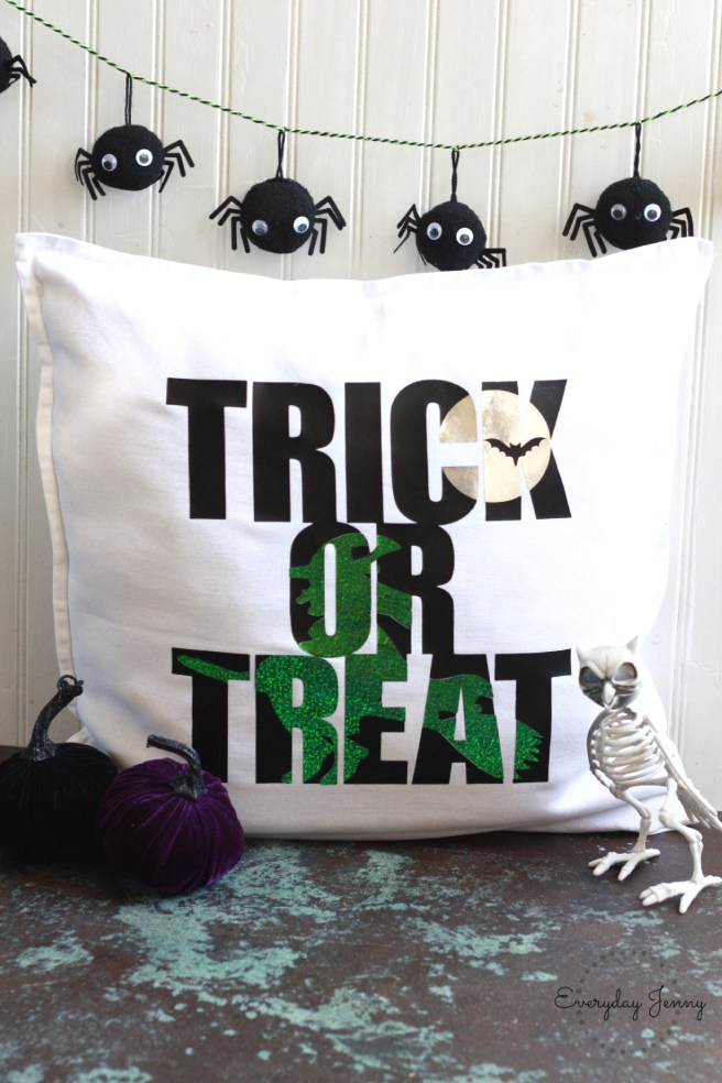 DIY Trick or Treat Pillow Made with the Cricut Maker and the Cricut Easy press