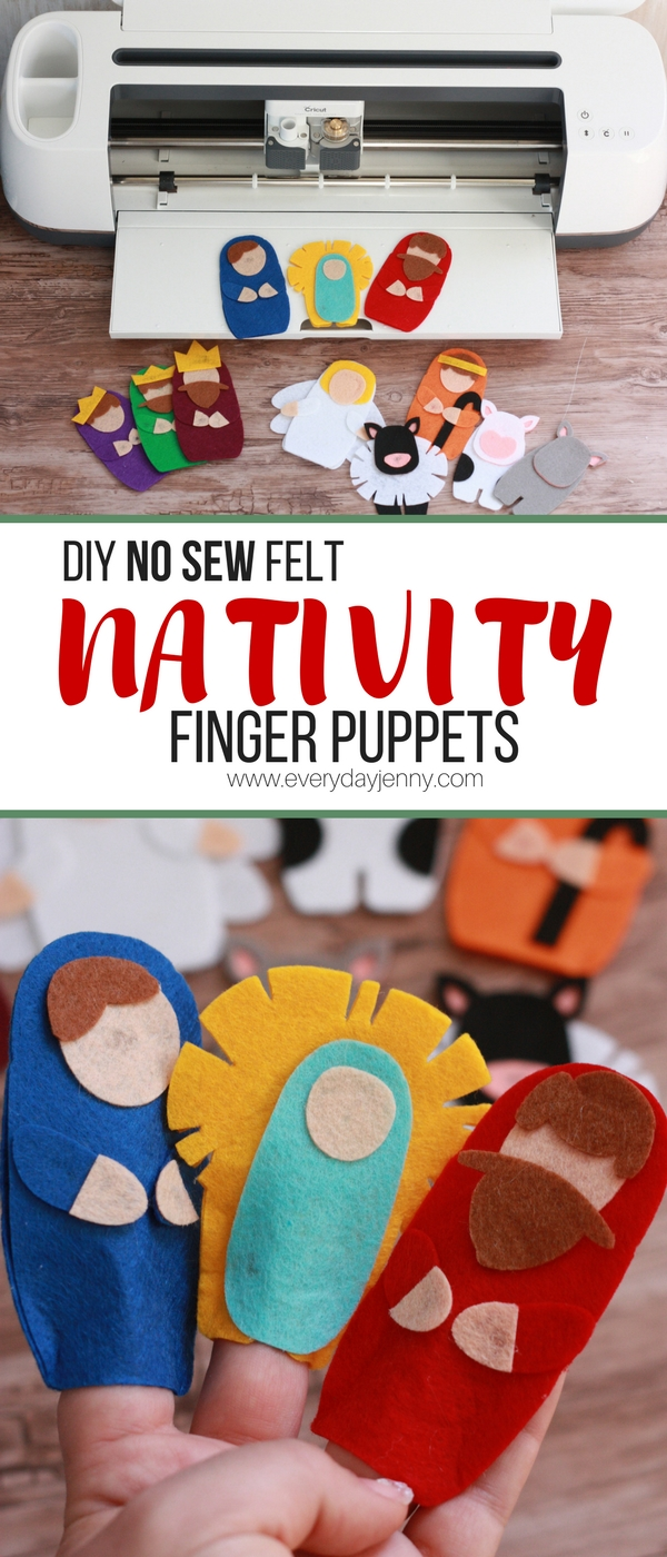 Use your Cricut Maker to make these no sew felt Nativity finger puppets. Link to the Design Space file included in the tutorial so you are ready to make them. Kids will love these! #Cricut #CricutMade #CricutMaker