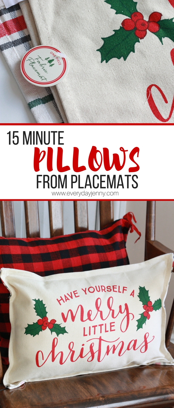 These cute Christmas pillows only take 15 minutes to make and start with placemats.