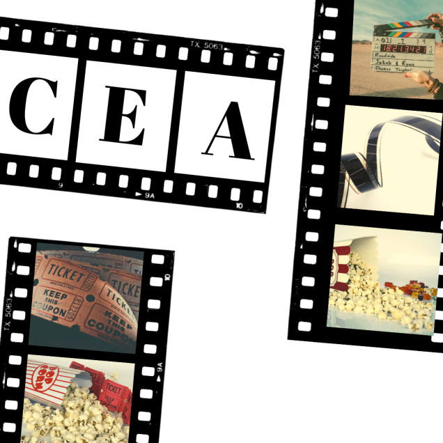 Black cinema reel tape with letters C E A in black on white backgrounds. Other cinema reel tape shows images of cinema tickets, popcorn and sweets.