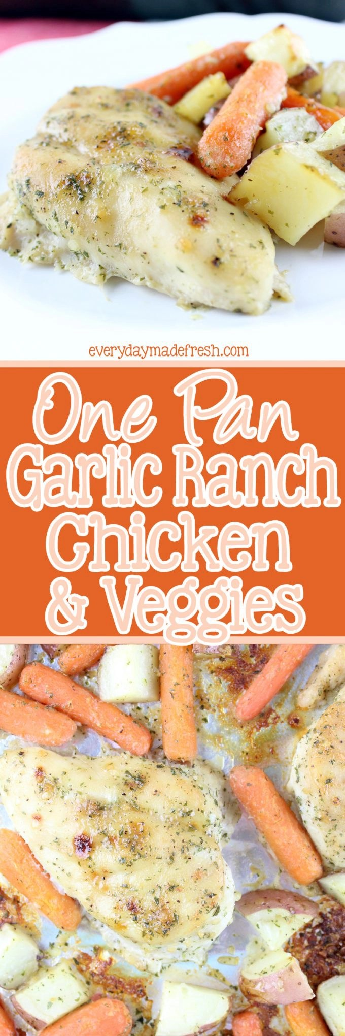 This One Pan Ranch Chicken and Vegetables in packed with flavor, and makes for an easy clean-up! | EverydayMadeFresh.com