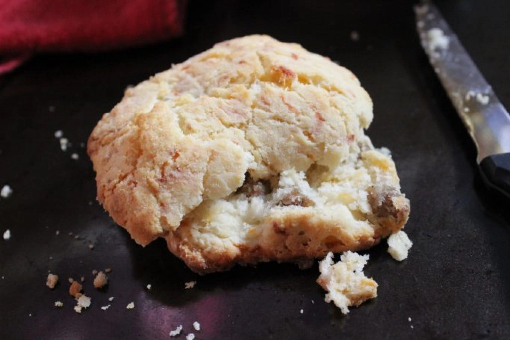 Cheese and sausage biscuits are the perfect on the go breakfast during the week. Prep and bake in 20 minutes the night or weekend before.