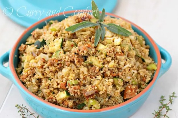 Quinoa Veggie and Sausage Stuffing