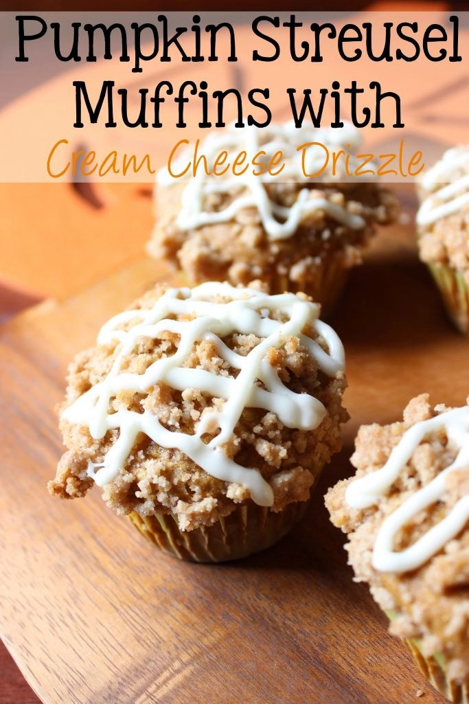 Pumpkin Streusel Muffins with Cream Cheese Drizzle