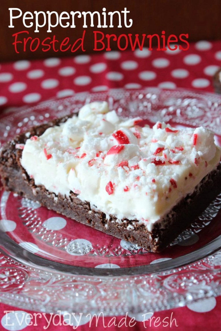 Peppermint Frosted Brownies | EverydayMadeFresh.com