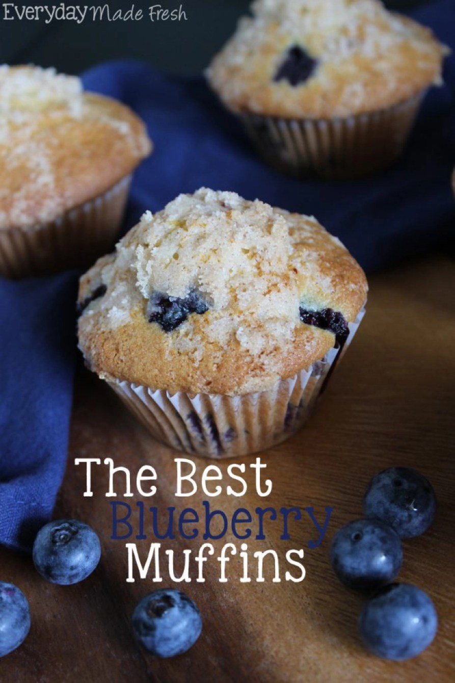 Soft and fluffy, and full of fresh plump blueberries, this recipe for The Best Blueberry Muffins put the rest to shame! | EverydayMadeFresh.com