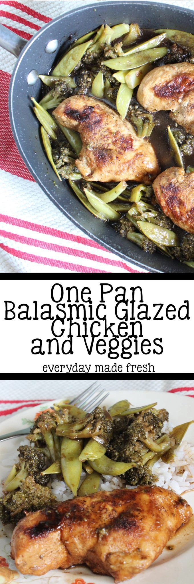 The slight tangy flavors from the balsamic vinegar make this One Pan Balsamic Glazed Chicken and Veggies so tasty! The one pan means it's a quick and easy clean-up, making meal time more enjoyable. | EverydayMadeFresh.com