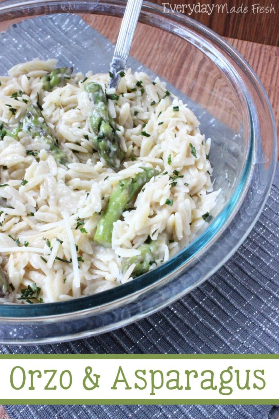 Orzo and Asparagus is simple to make, tastes great, and is the perfect side to just about any dinner!   EverydayMadeFresh.com