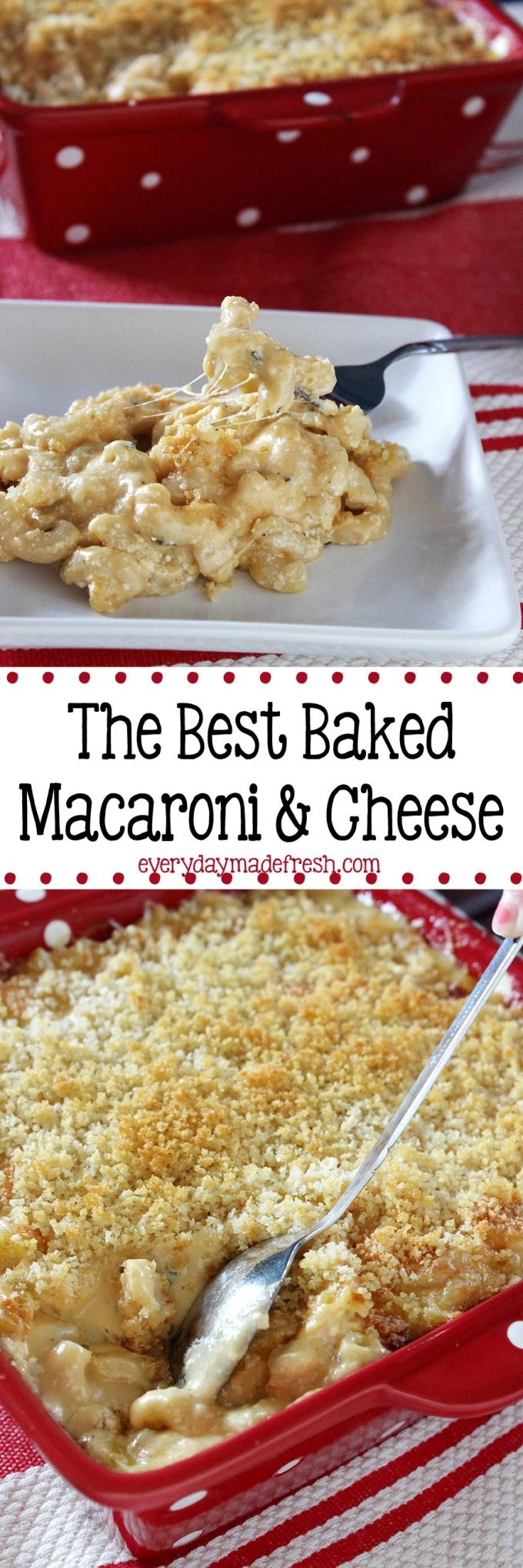 The Best Baked Macaroni and Cheese is creamy, cheesy, and the perfect addition to your table! | EverydayMadeFresh.com