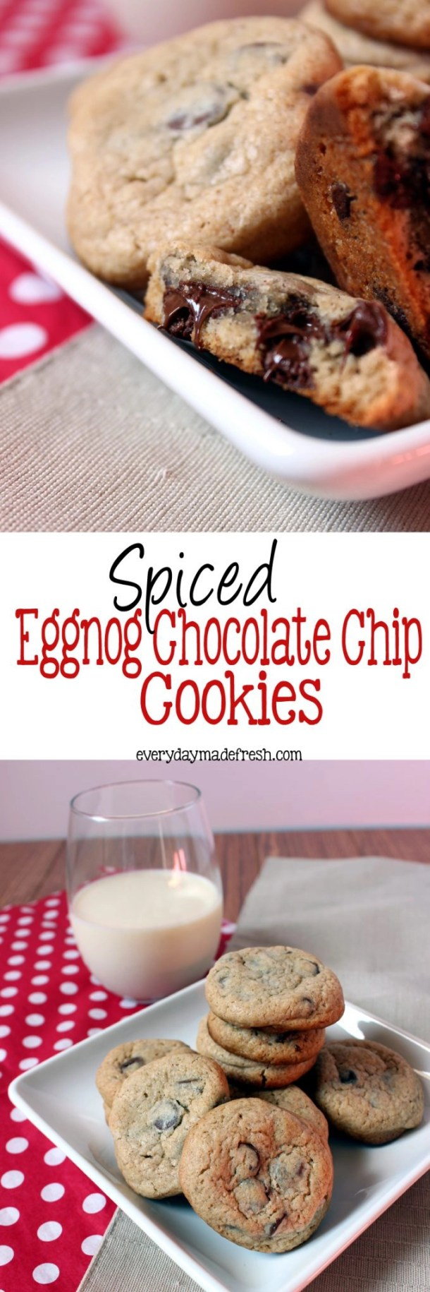 Chocolate chip cookies just got a Christmas makeover. Spiced Eggnog Chocolate Chip Cookies are bursting with Christmas flavor! | EverydayMadeFresh.com