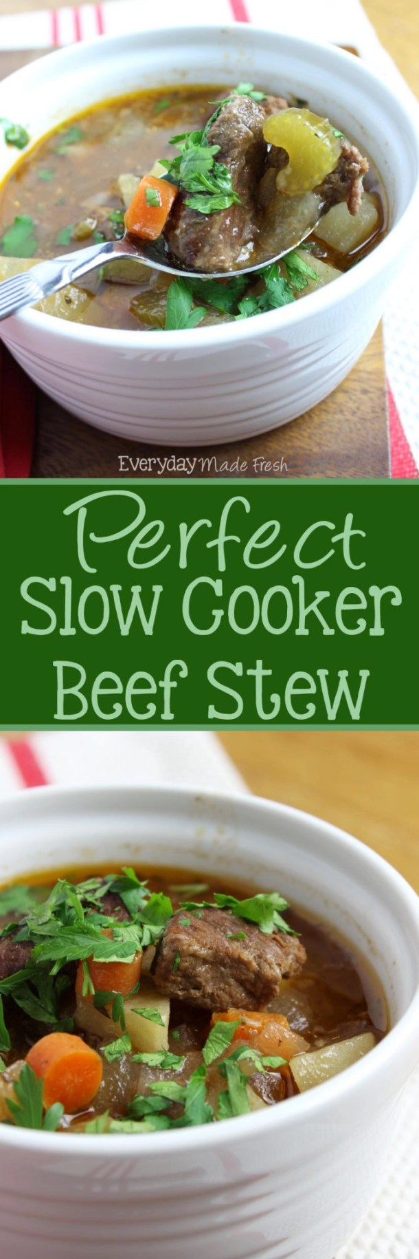 Perfect Slow Cooker Beef Stew is hearty, comforting, and loaded with chunks of beef, carrots, celery, and potatoes - it's everyone's favorite! | EverydayMadeFresh.com