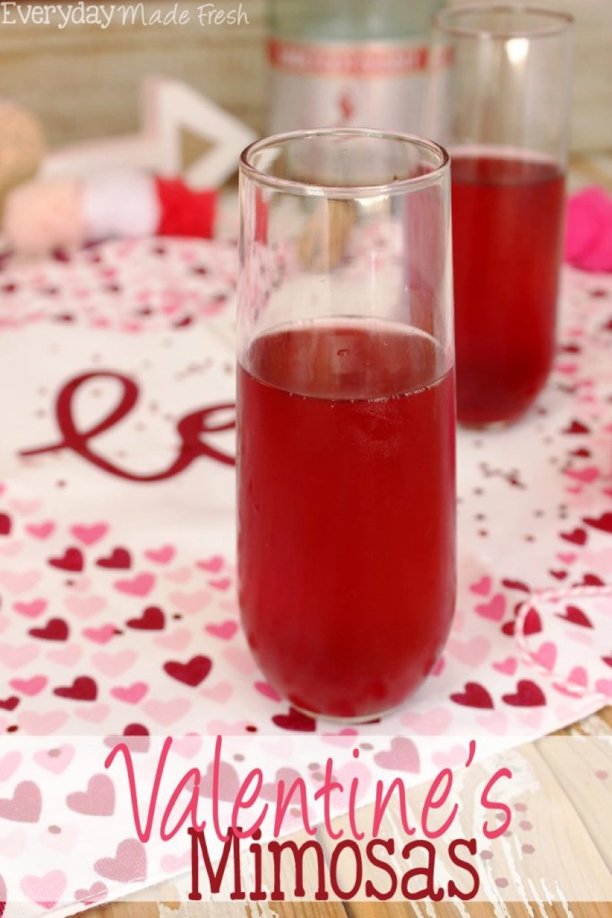 """The perfect drink to enjoy on the official """"love"""" day has to be red! These Valentine's Mimosas are made with pink champagne and pomegranate juice; the perfect combination. 