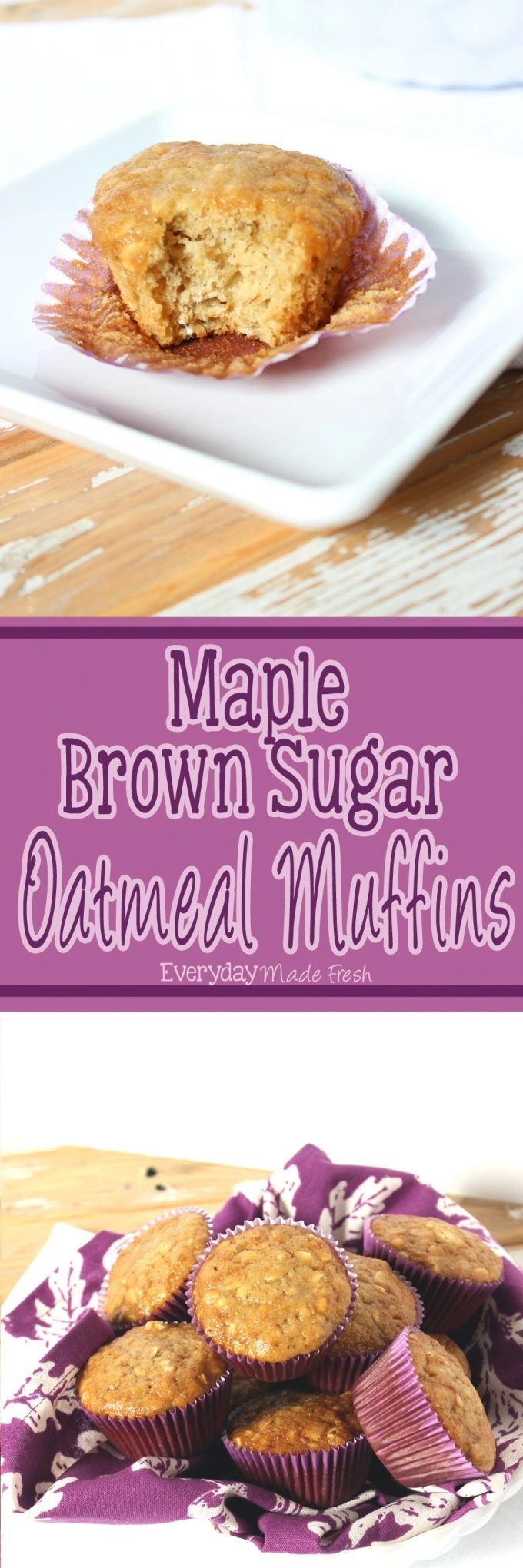 These Maple Brown Sugar Oatmeal Muffins are just like that favorite bowl of oatmeal that you love so much. However, these are easier to transport, making them the perfect breakfast! | EverydayMadeFresh.com