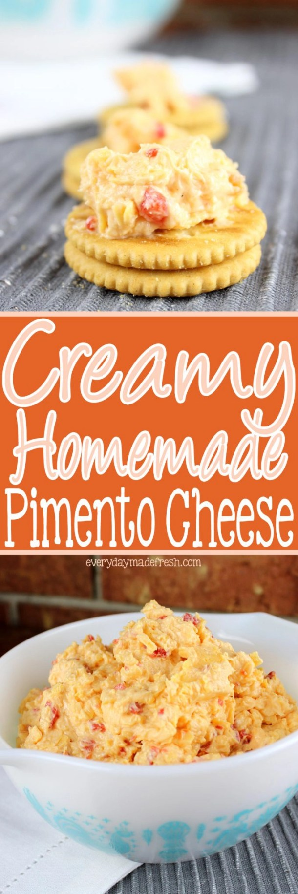 Nothing makes a sandwich better, or the perfect cracker topping, than my recipe for Creamy Homemade Pimento Cheese!   EverydayMadeFresh.com