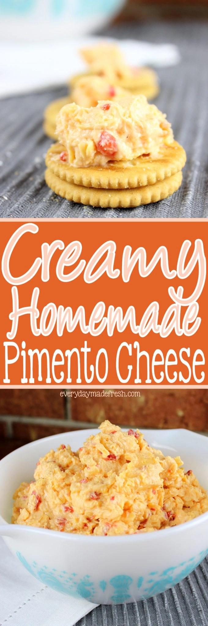 Nothing makes a sandwich better, or the perfect cracker topping, than my recipe for Creamy Homemade Pimento Cheese! | EverydayMadeFresh.com