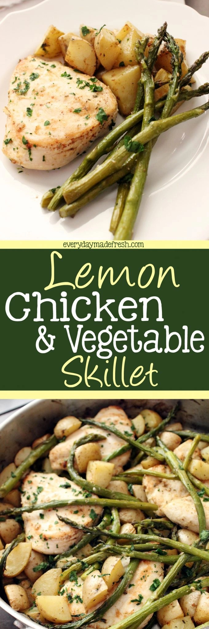 Need a quick and easy dinner recipe? One that has meat, vegetable, and starch? This Lemon Chicken & Vegetable Skillet is the answer! | EverydayMadeFresh.com