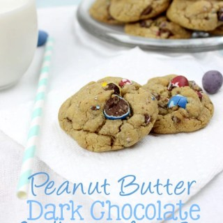 If you love those delightful candy coated smooth chocolate eggs, then this is going to be the best cookie you've ever eaten. Peanut Butter Dark Chocolate Cadbury Mini Egg Cookies are seriously the most perfect cookie ever! | EverydayMadeFresh.com