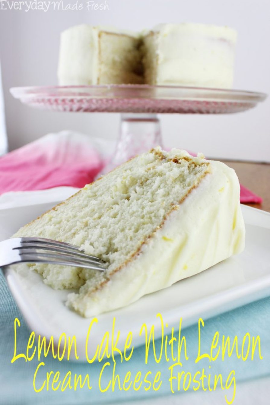 Fresh Lemon Cake with Lemon Cream Cheese Frosting is made with fresh lemon zest and lemon juice. This cake has the perfect texture, and screams spring and summer. | EverydayMadeFresh.com