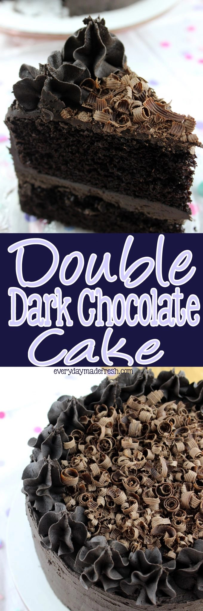 Chocolate cake is my favorite, and I set out to make the perfect chocolate cake by using only dark chocolate. This Double Dark Chocolate Cake is only for the serious chocolate fans. Not too sweet and very addicting! You've been warned! | EverydayMadeFresh.com