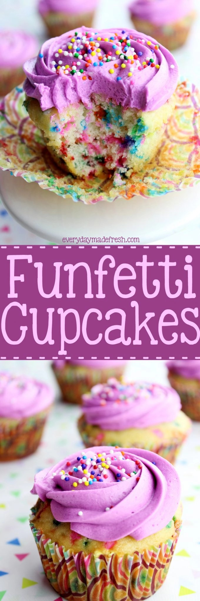 Sprinkles are all the rage, which means these Funfetti Cupcakes will be a hit at your next party! They are simple to make and the best part...they don't require a mixer! | EverydayMadeFresh.com