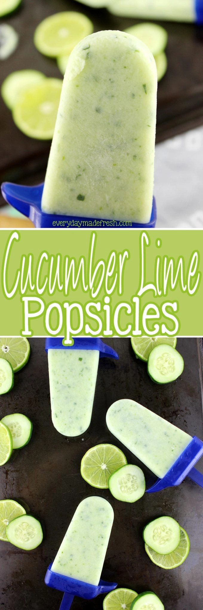 Summertime calls for refreshing popsicles, and nothing is more refreshing than these Cucumber Lime Popsicles!   EverydayMadeFresh.com