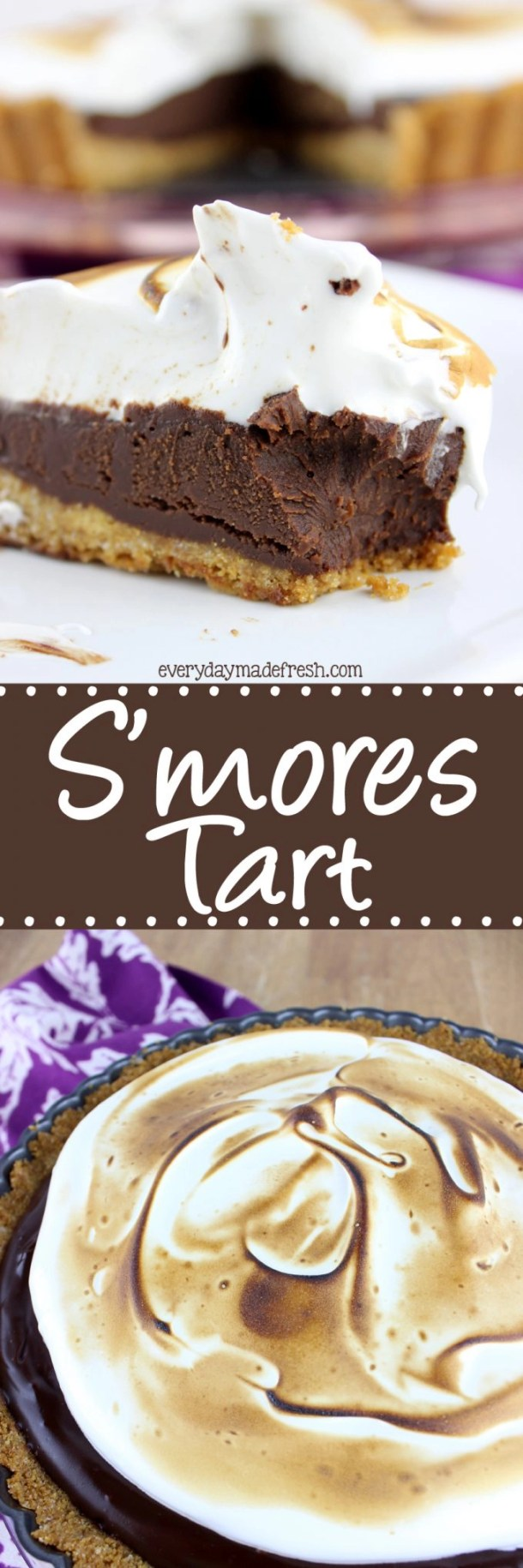 Enjoy the flavors of s'mores year round, and without a camp fire with this rich and decadent no bake S'mores Tart. | EverydayMadeFresh.com